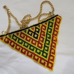 Vintage Handmade Beaded Handbag Free People